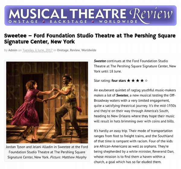 """Four Stars! A satisfying theatrical journey! A tasty score of blues inflections, jazzy tidbits and conventional musical theatre balladry impresses."" - MT REVIEW"