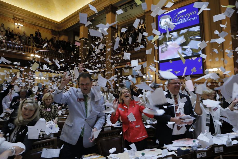 Georgia legislators celebrate the end of the 2017 session on Sine Die, March 31.