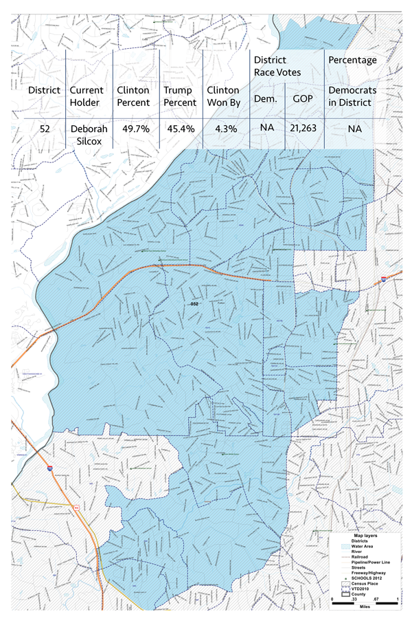 DISTRICT 52   In 2016, Hillary Clinton won this district by 4.3 percent. Alas, Rep. Deborah Silcox ran unopposed. Here's a look at the  district  .
