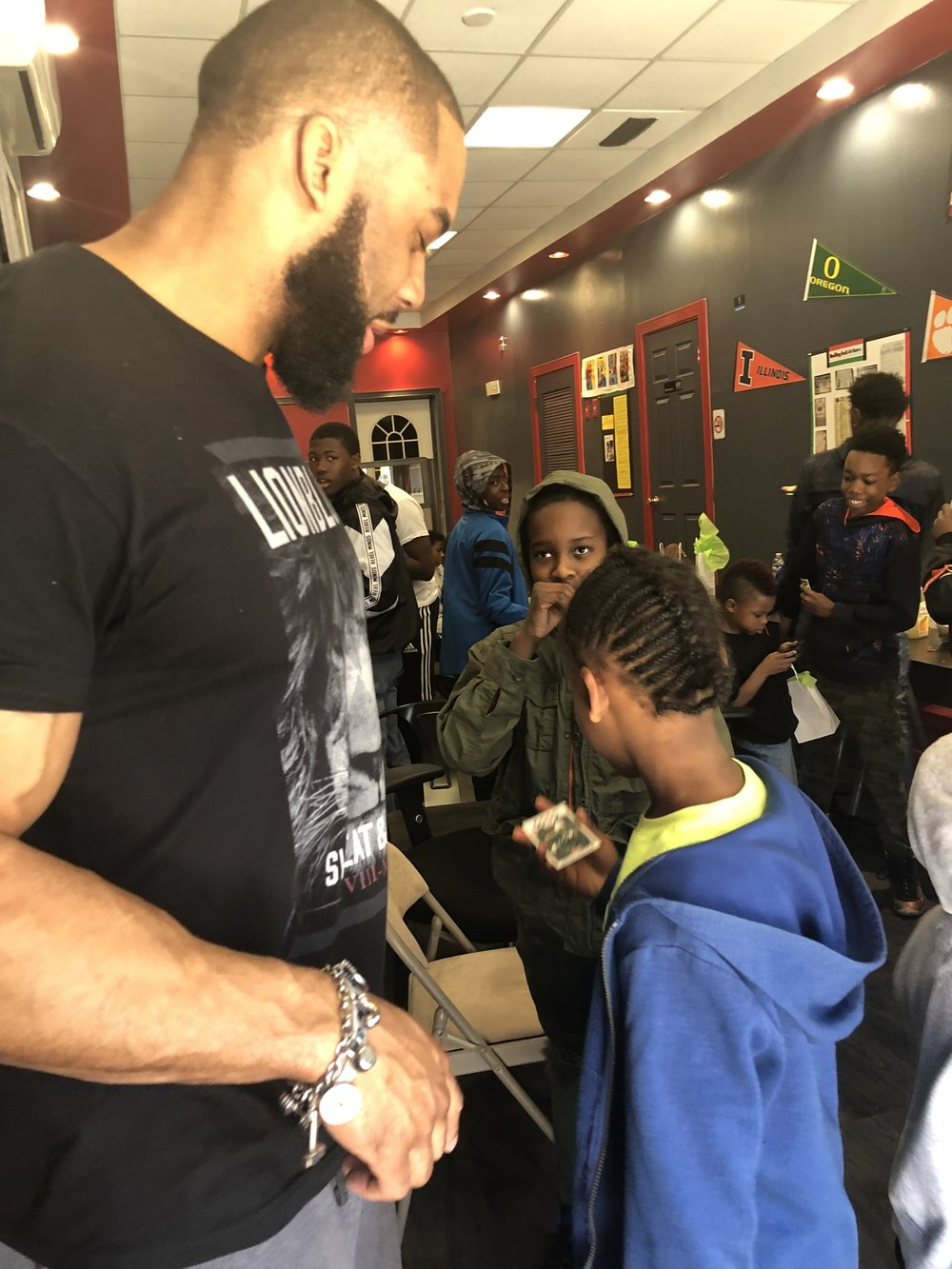 Vernon Gholston with Jersey City youth