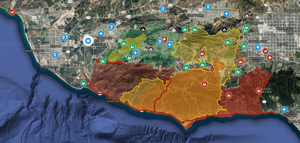Woolsey Fire Map Via Google Maps