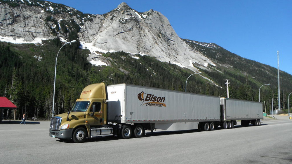 BISON TRANSPORT OPERATES TWIN 53-FOOT TRAILERS IN CANADA, AND GENERALLY HAS LOWER RATES OF INCIDENTS THAN WITH SINGLE TRAILERS.