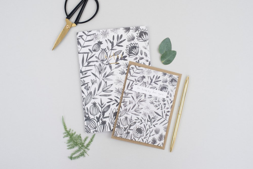 Grey Floral Notebook £7