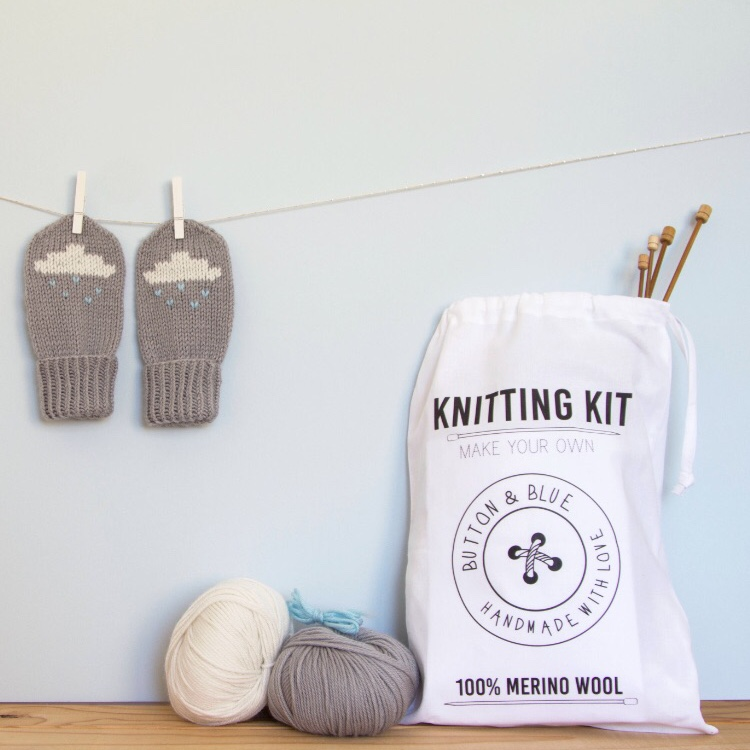 Rain Cloud Mitten Kit by Button and Blue £30