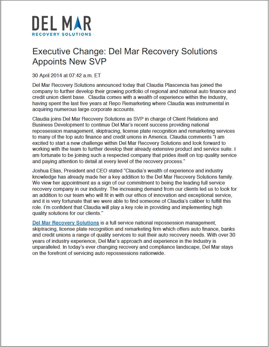 Executive Change: Del Mar Recovery Solutions Appoints New SVP