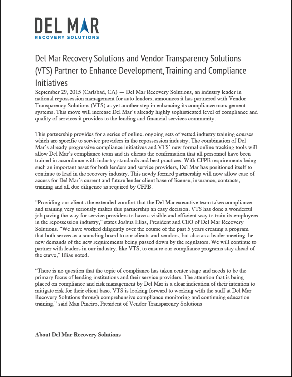 Del Mar Recovery Solutions and Vendor Transparency Solutions (VTS) Partner to Enhance Development, Training and Compliance Initiatives