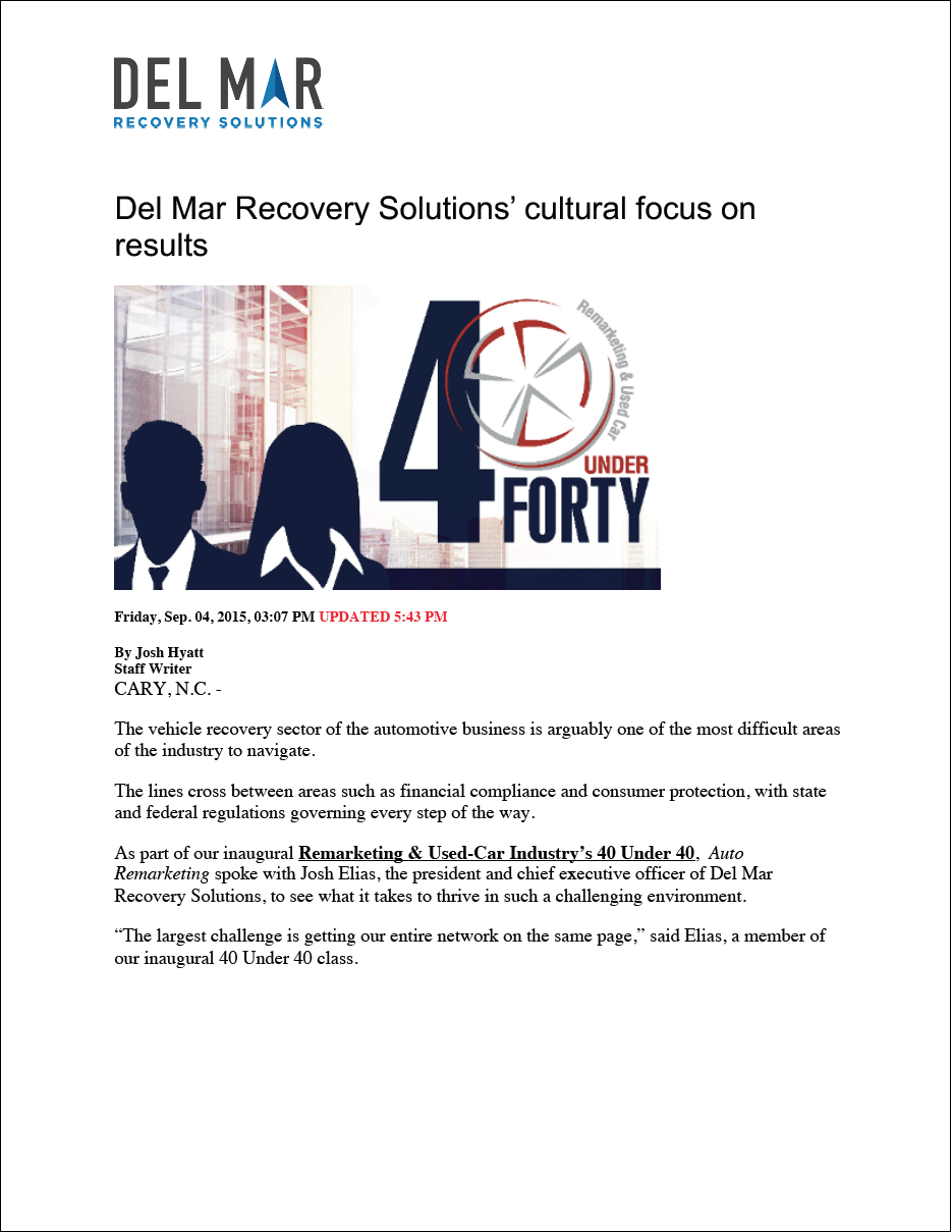 Del Mar Recovery Solutions' Cultural Focus on Results