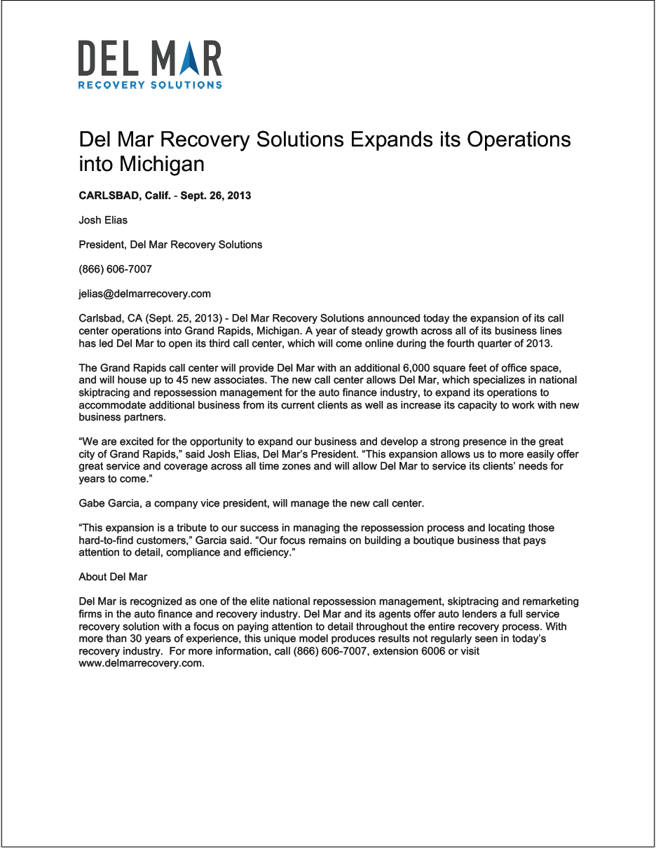 Del Mar Recovery Solutions Expands its Operations into Michigan