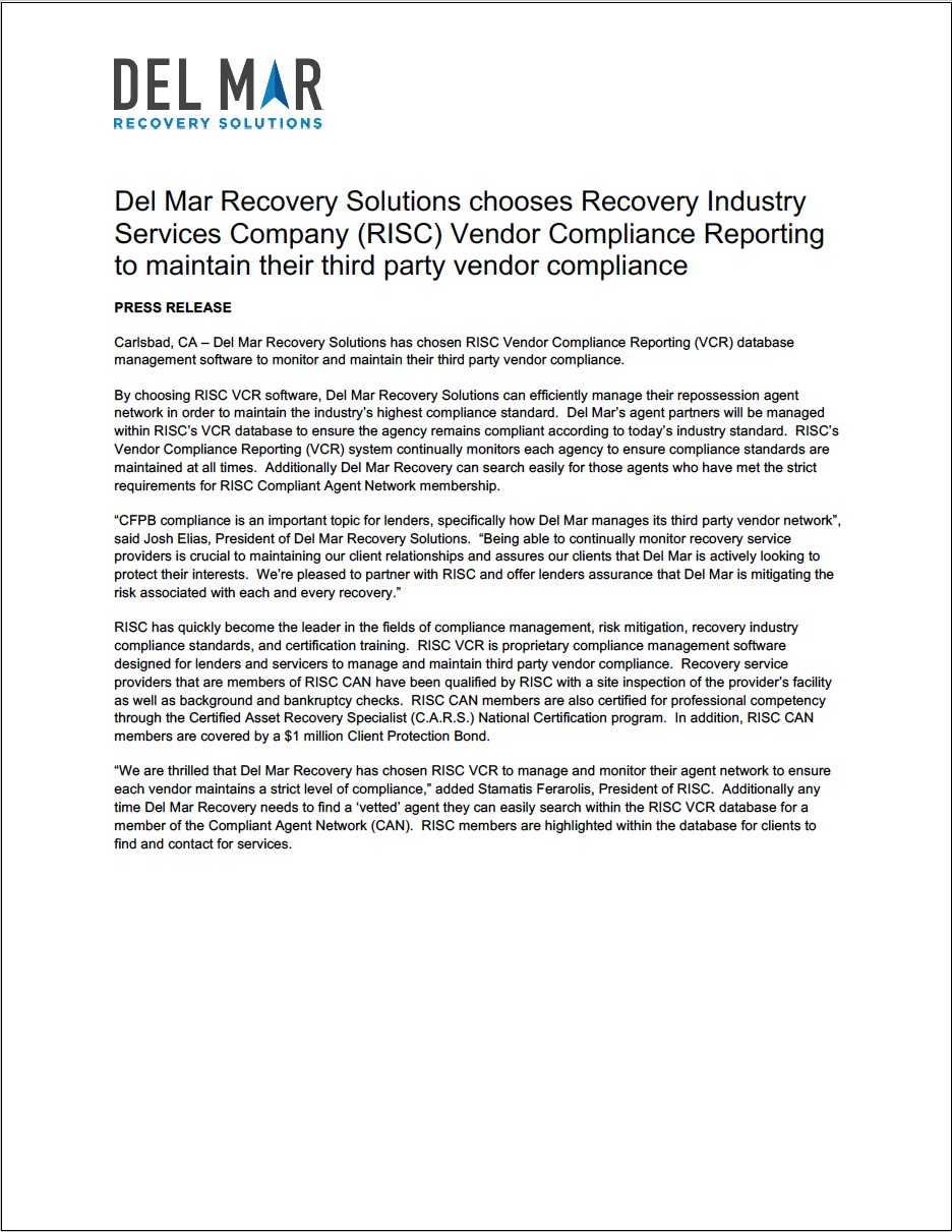 Del Mar Recovery Solutions Chooses Recovery Industry Services Company (RISC) Vendor Compliance Reporting to Maintain their Third Party Vendor Compliance