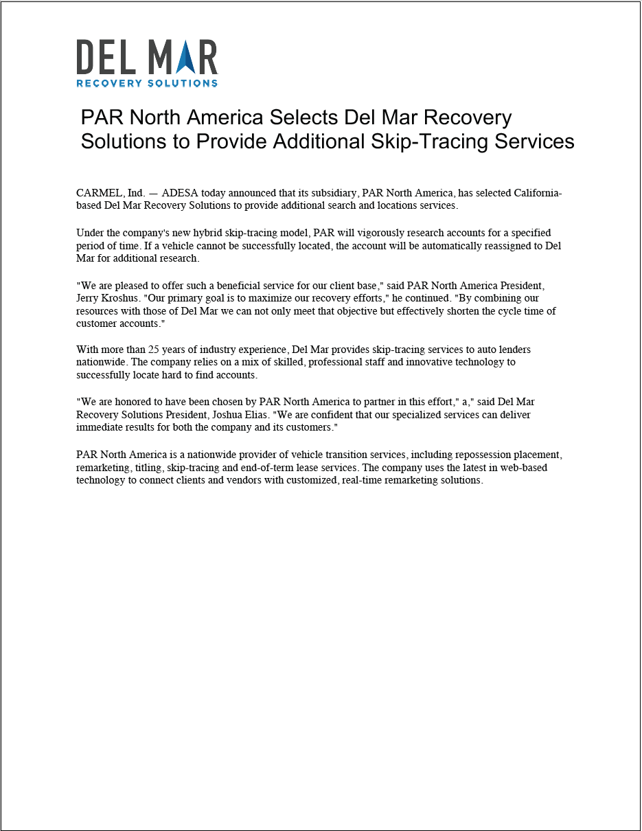 PAR North America Selects Del Mar Recovery Solutions to Provide Additional Skip-Tracing Services