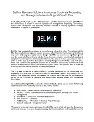 Del Mar Recovery Solutions Announces Corporate Re-branding and Strategic Initiatives