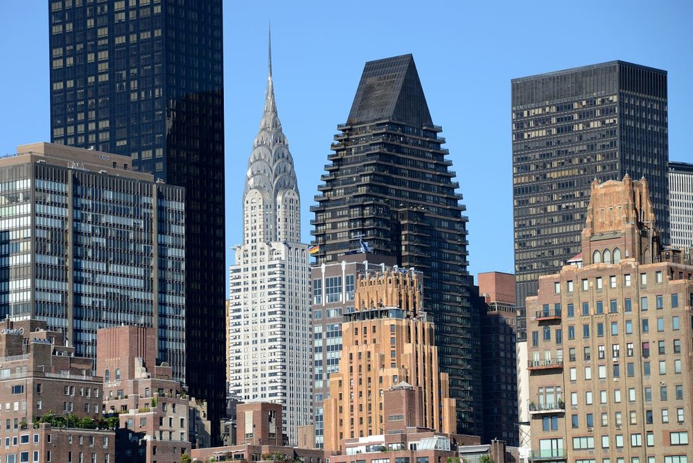 23 New York City Roosevelt Island Manhattan With Trump World Tower, The Chrysler Building, 100 United Nations Plaza, and One Dag Hammarskjold Plaza Close Up.jpg