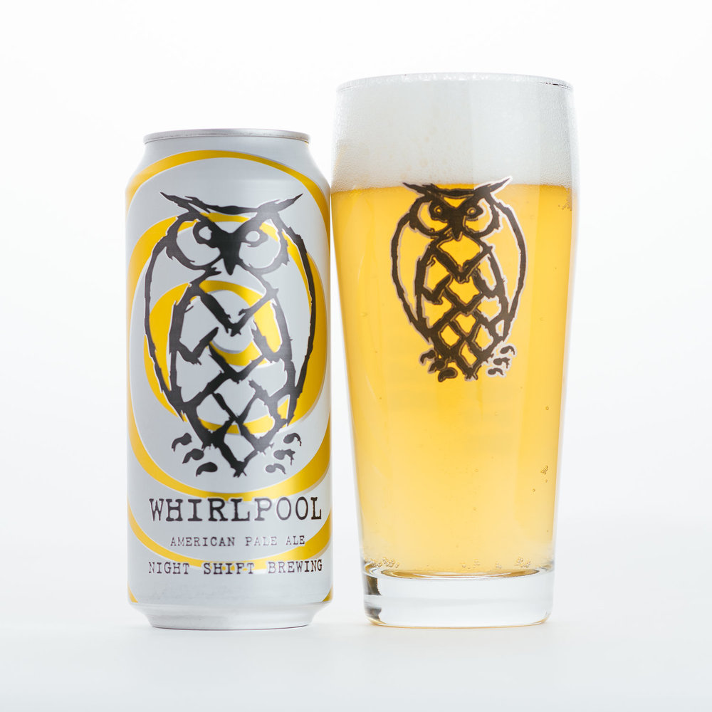 Whirlpool   | 4.5% ABV | A New England pale ale brewed with wheat, oats, and barley.  Hops include Mosaic and Summer hops, and is dry-hopped with Mosaic. Whirlpool pours straw yellow and slightly hazy. Aromas include peach and mango, with notes of ripe citrus and a crisp finish.