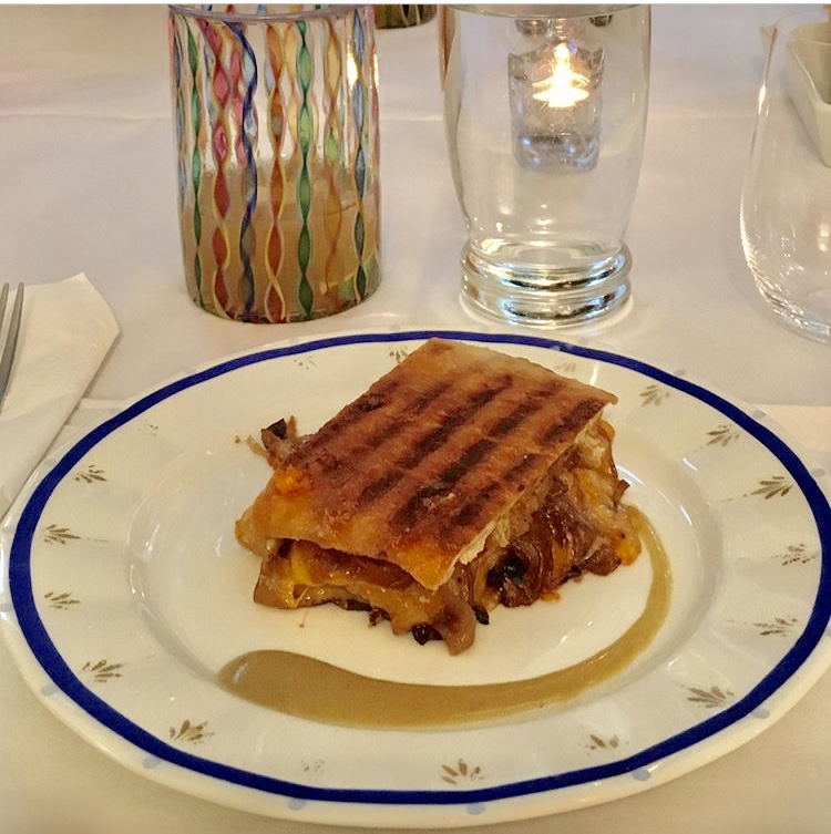 Grilled cheese with bourbon caramelized onions.