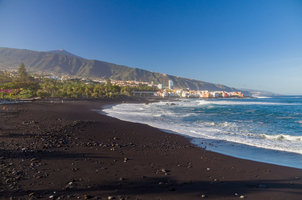 Black-sand beaches in Tenerife.