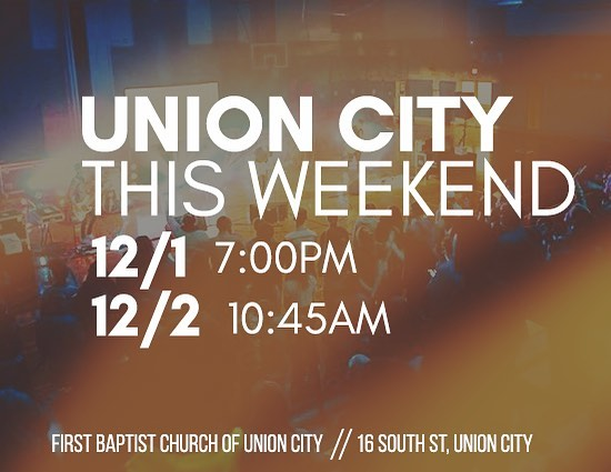 NORTHWESTERN PA FRIENDS! Dec 1 & 2 we would love to see you in Union City, PA! Join us at 7pm on Saturday the 1st for a concert and night of worship. Join us on Sunday the 2nd for worship in the morning!