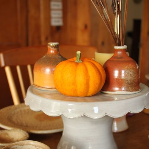 cake stand, handmade pottery, fall decorating