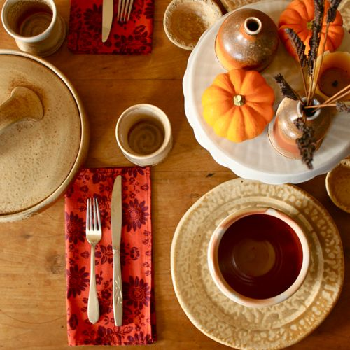handmade pottery, fall decorating ideas, wood-fired pottery