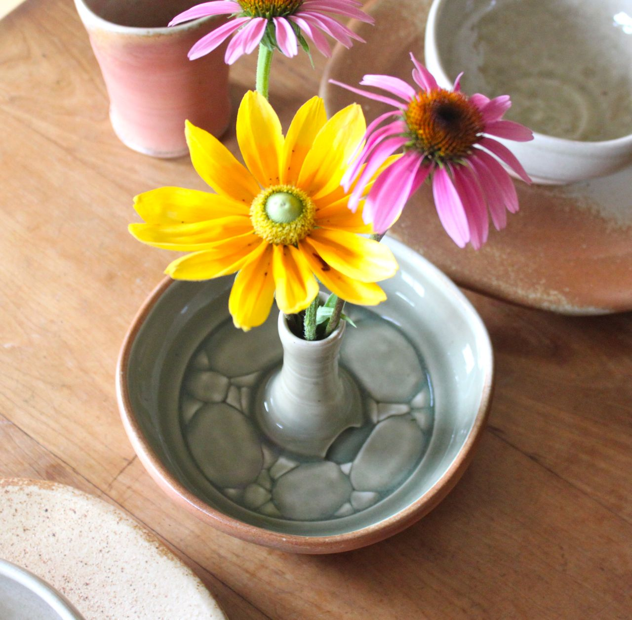 flower bowl, unique vase, handmade pottery, pottery gift