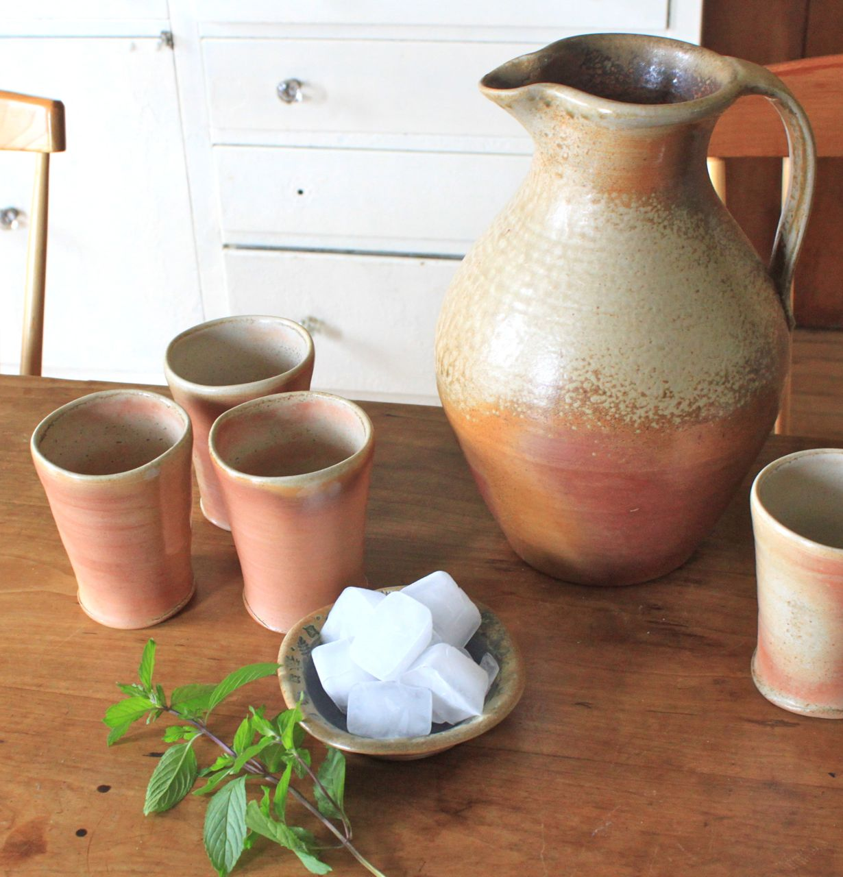 pitcher, woodfired pottery, handmade tumblers