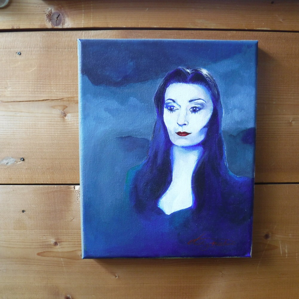 I needed some Morticia energy in my life, and what better way to invite it than to paint her?