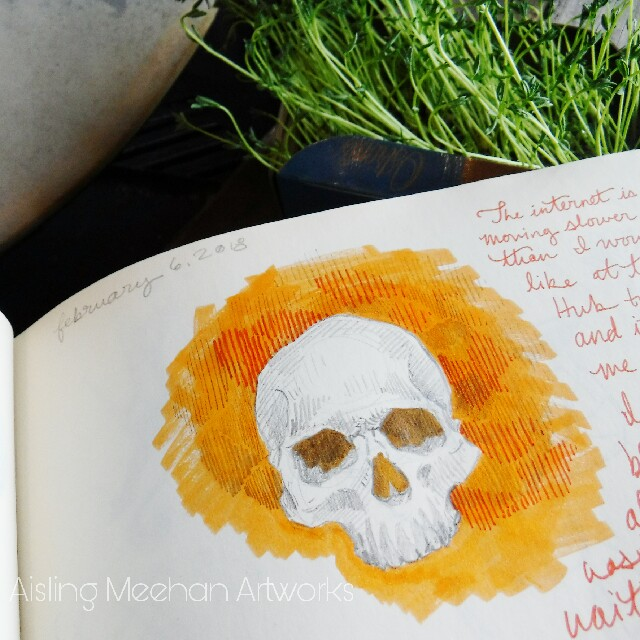 A skull in pencil and highlighter. Simply drawing something that makes me happy.