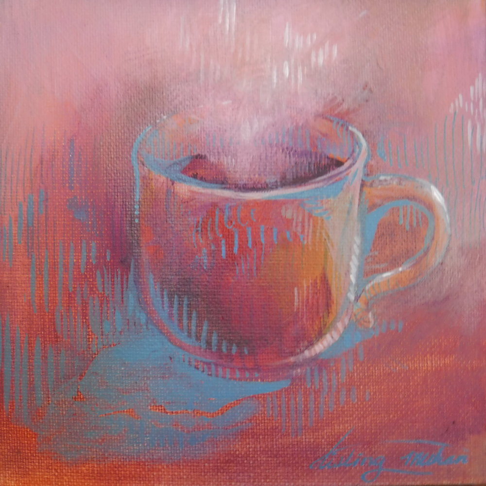 """Caffeinated in Pink"" acrylic painting"