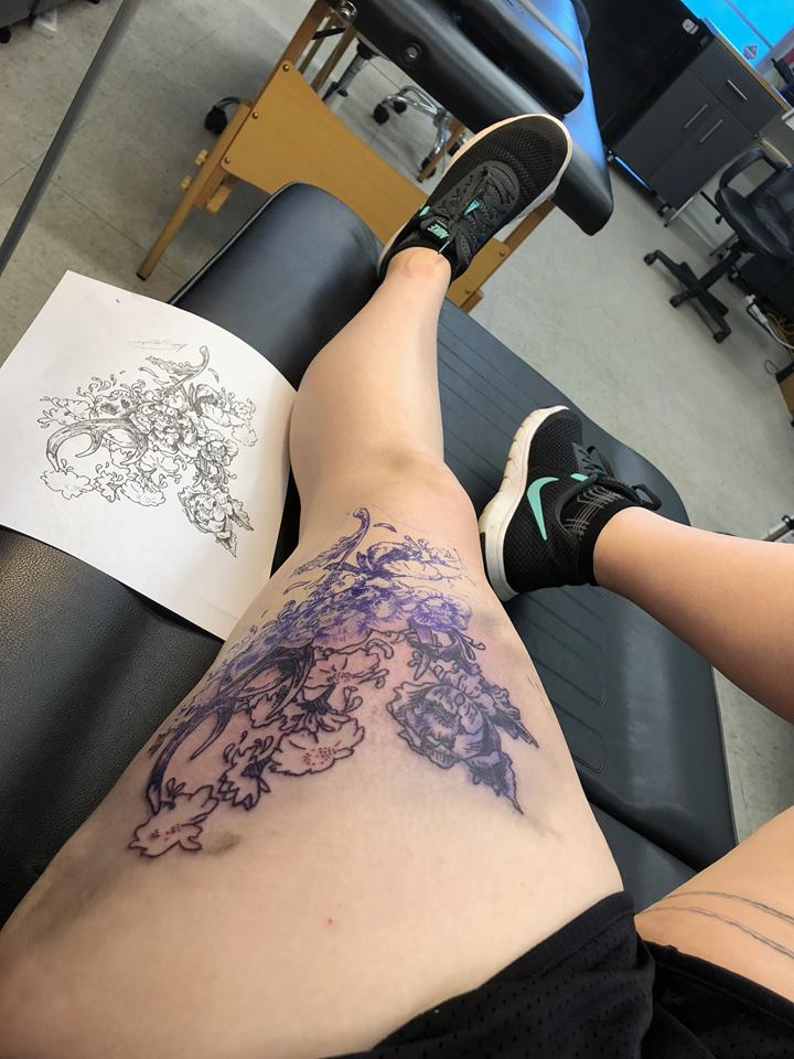 floral bones tattoo work in process