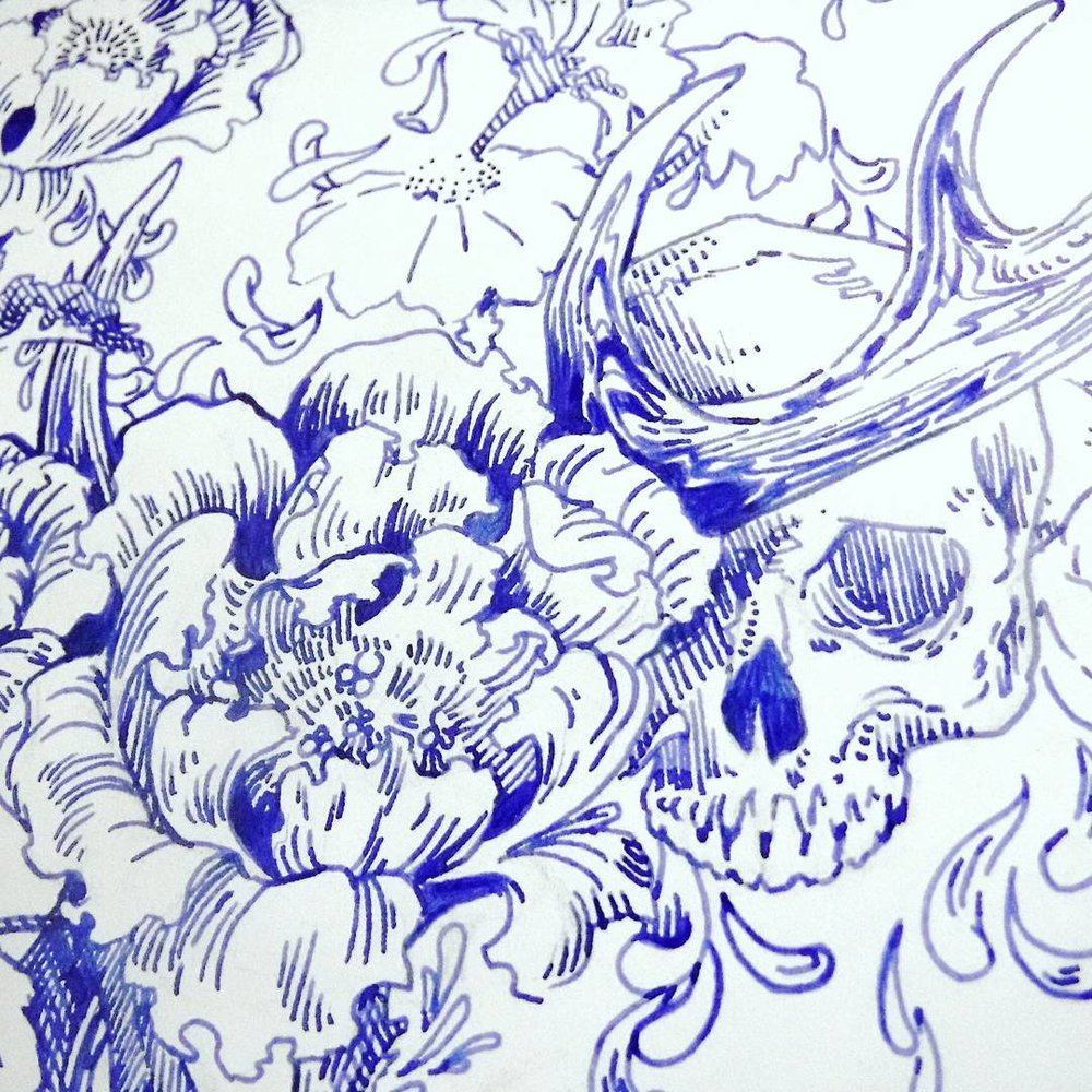 floral bones tattoo blue ink drawing