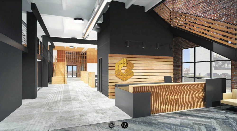 Rendering of newly renovated office space for Golden Construction and Appleseed Workshop.