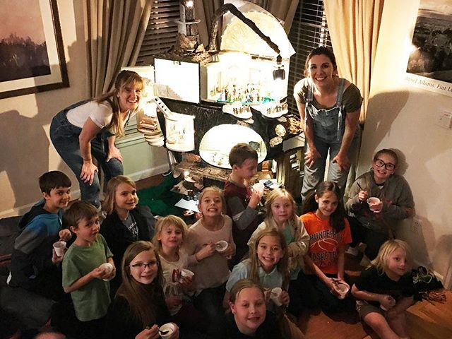 The Filkin family packed the HOUSE for this Boulder show! What's better than a house with an open front door, neighbors piling in and Chick fil-A for everyone? With 30 people, this may have been a record audience size for us. Wish we'd had binoculars for the back row!