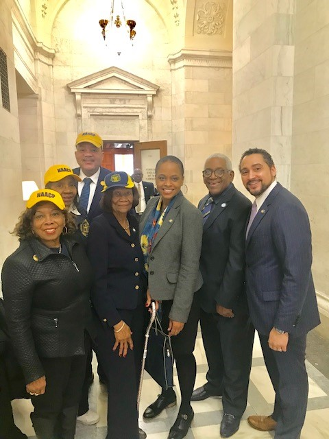 From left to right: NAACP NYS Civic Engagement Chair H. Scottie Coads, NAACP NYS Conference 2nd Vice President Karen Blanding, NAACP NYS Conference 1st Vice President Geoffrey Eaton, NAACP NYS Conference President Hazel N. Dukes, NYS Assemly Member Tremaine Wright, NAACP NYS Metro Council Regional Director Kenneth Cohen Sr., NYS Assembly Member Robert Rodriguez