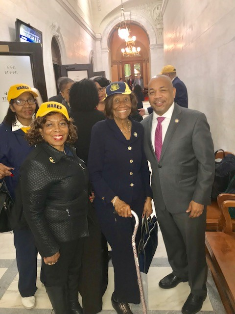 From left to right: NAACP NYS Conference 2nd Vice President Karen Blanding, NAACP NYS Civic Engagement Chair H. Scottie Coads, NAACP NYS Conference President Hazel N. Dukes, NYS Assembly Member Carl Heastie