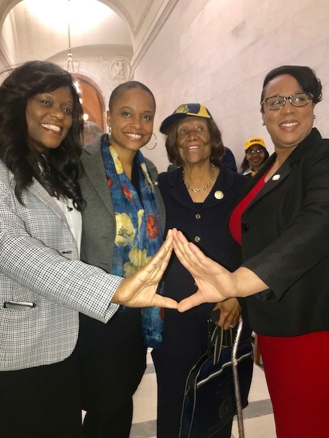 From left to right: NYS Assembly Member Rodneyse Bichotte, NYS Assembly Member Tremaine Wright, NAACP NYS Conference President Hazel N. Dukes, NYS Assembly Member Alicia Hyndman