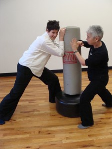 Executive Director Tracy Hobson and Co-Founder Annie Ellman demonstrate self-defense techniques.