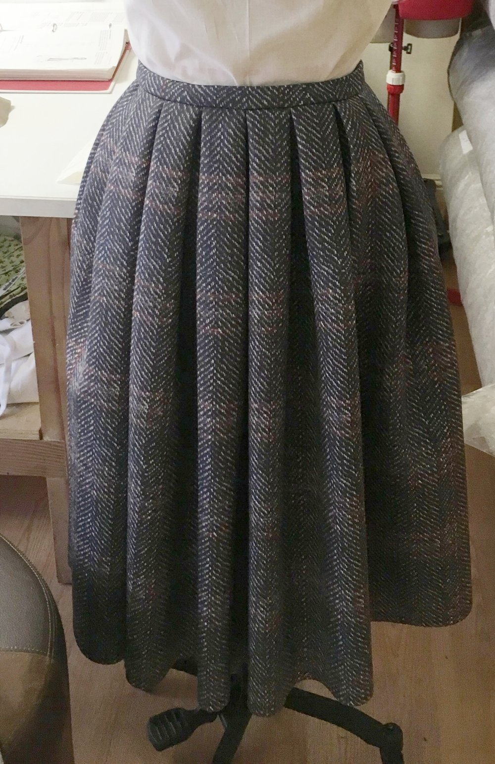 Neoprene Full Pleated Plaid Skirt