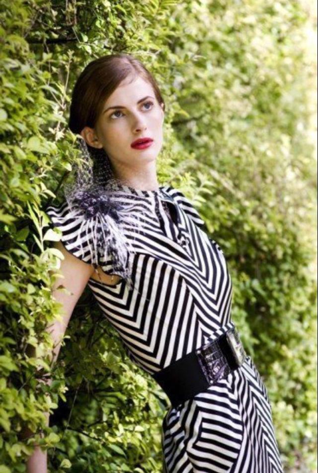 Black and White Striped Chevron Gown