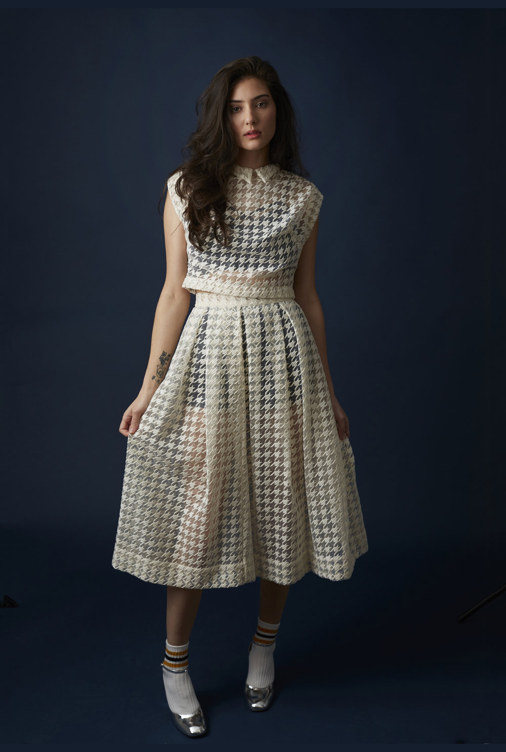 Embroidered houndstooth organza top and skirt