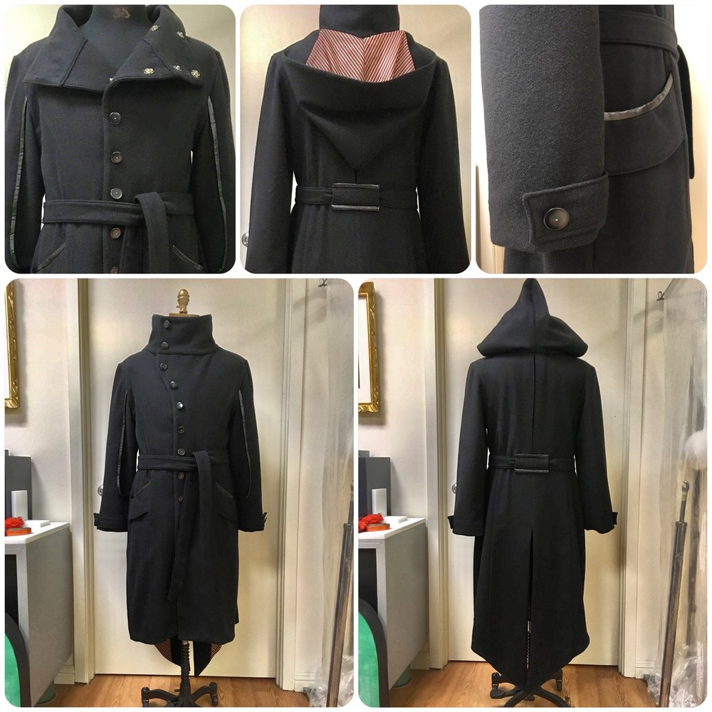 Men's Asymmetric High Collar Hooded Coat