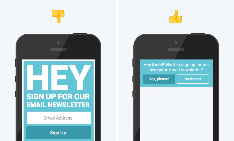 Hubspot's example of bad and good mobile pop-up forms