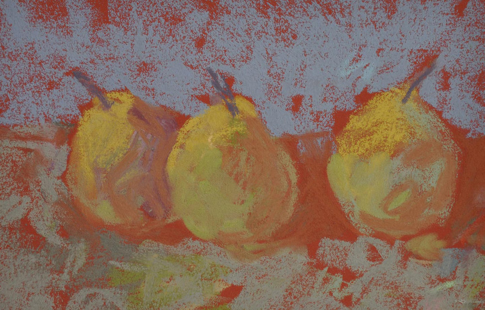 Three Yellow Pears on Red