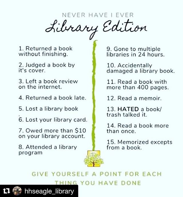 Scored 11 points... some I am proud of 👊🏻 some I will keep to myself 🤦🏼♀️ Thanks for sharing @hhseagle_library! This was fun! WHAT'S YOUR SCORE?