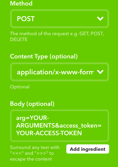 You can get your access token from the settings drawer in Particle Build. Your access token is like your password, so you aren't supposed to share it with anyone you don't trust.  Args here are 1 for the first part of the song, and 2 for the second part.