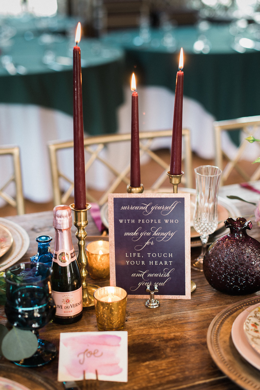 Stationery by Whimsy B Paperie | Watercolor Place Card by Bonnie Bryant Creative | Event Styling by Eventful Days | Vintage tableware by Early Bird Vintage | Flowers by Sugar Magnolias Flowers | Venue is the Old Field Club | Rosé courtesy of Allison Cohen/Opici Wines