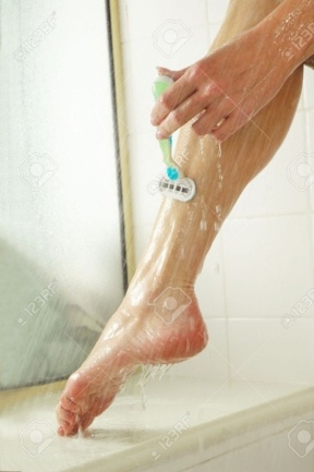 You see a lady shaving her leg. Your plumber sees the cover for the razor, which is 100% likely to fall in the drain unless it's secured.