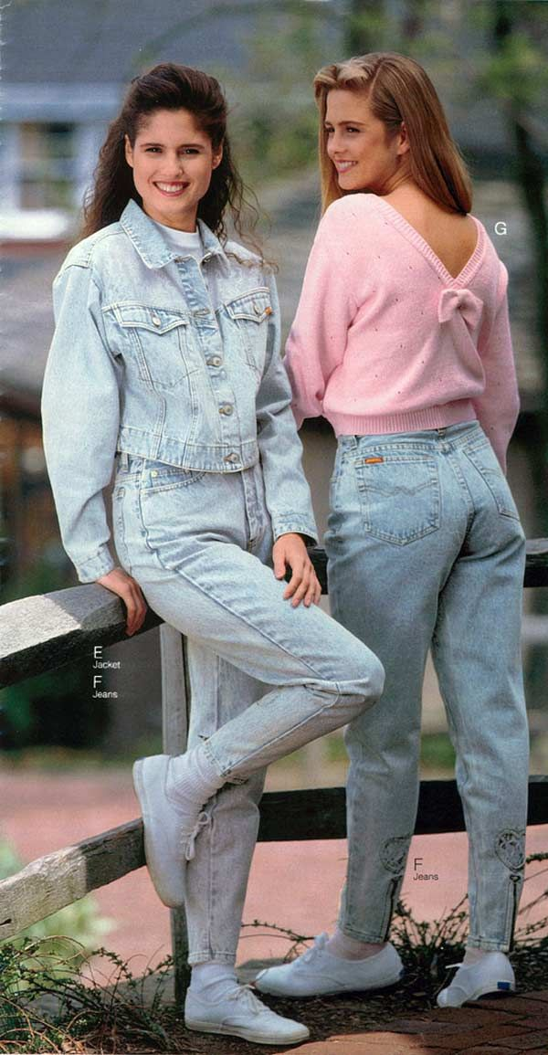Esther and Penny relax by a fence in their 1994 catalogue shoot for Kmart.