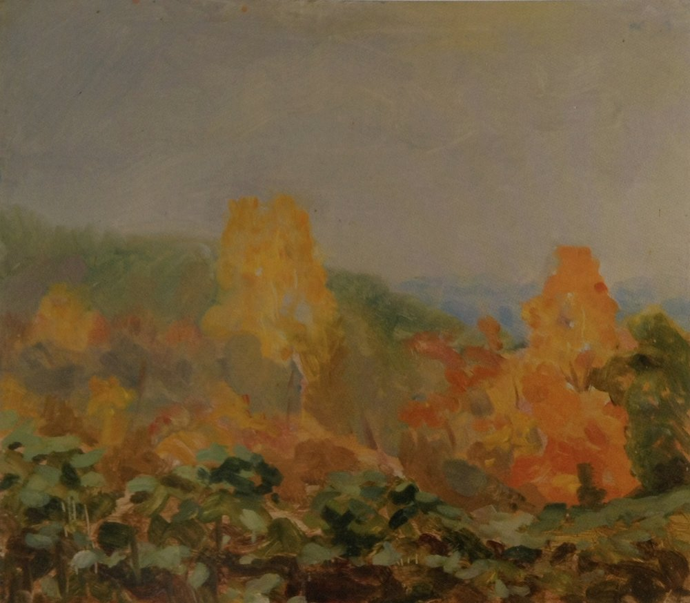 Hillside Autumn  - 10 x 11 - Oil on Paper - 1976. Collection of the Artist