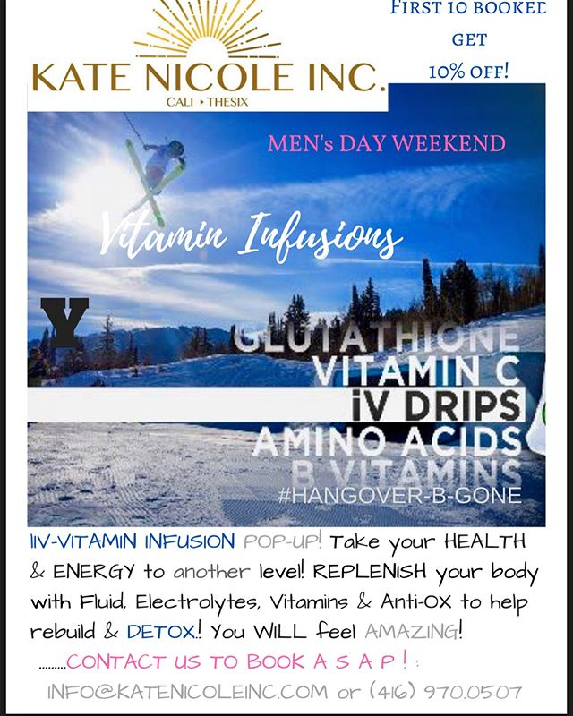 Coming off the heels of @oslerskiclub #popup .. I am excited to be at @craigleithskiclub & @devilsglencountryclub for #Men'sDay @bluemountainvillage ! First 10 booked will receive 10% off #vitamininfusion #detoxdrip #naturalenergy #rehydrate #replenish #b12 #bluemountain #popup! #hangoverbegone #ski #life! #vitamindripafterparty Contact us ASAP @ info@katenicoleinc.com / 416.970.0507