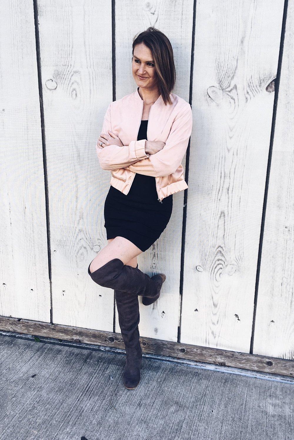 pink bomber, gray OTK boots, bomber jacket, OTK boots