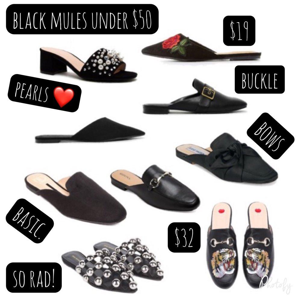 polyvore, black mules under $50